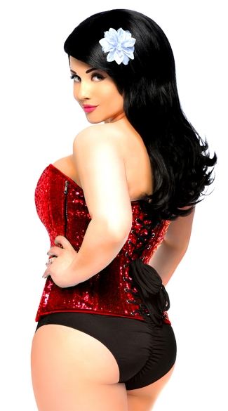 Plus Size Red Sequin Steel Boned Corset
