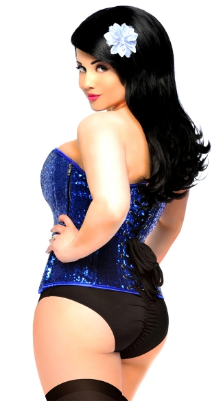 Plus Size Royal Blue Sequin Steel Boned Corset