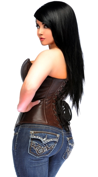 Plus Size Dark Brown Faux Leather Sweetheart Corset