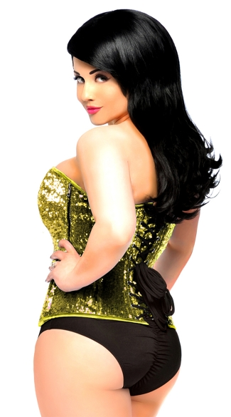 Plus Size Top Drawer Gold Sequin Corset