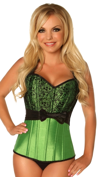 Plus Size Green Lace and Bow Steel Boned Corset, Plus Size Satin and Lace Corset, Plus Size Green Corset