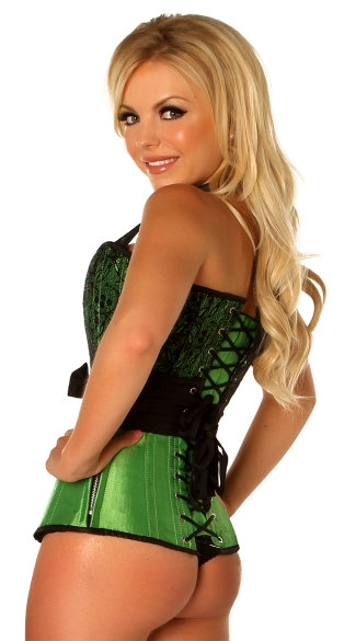 Plus Size Green Lace and Bow Steel Boned Corset