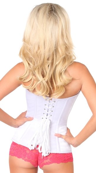 White Satin Steel Boned Zipper Corset