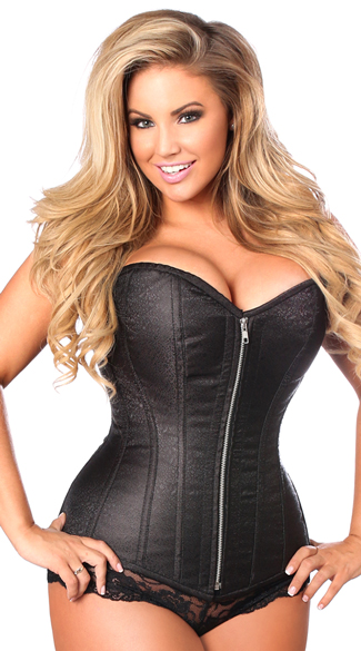 Plus Size Black Steel Boned Corset, Plus Size Black Zipper Corset, Plus Size Black Corset