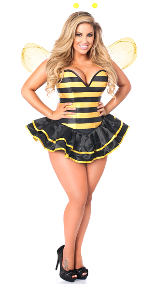 Plus Size Deluxe Queen Bee Corset Costume, Plus Size Bee Costume, Plus Size Sexy Bee Costume