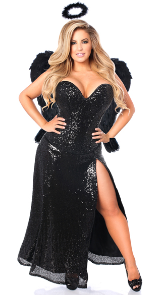 Plus Size Deluxe Dark Angel Corset Costume, Plus Size Dark Angel Costume, Plus Size Sexy Angel Costume