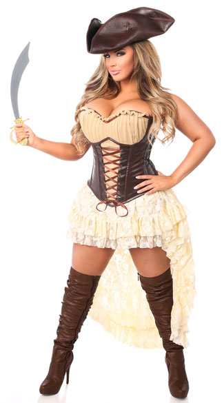 Plus Size Sexy Pirate Captain Costume, Plus Size Pirate Corset Costume, Plus Size Sexy Corset Costume