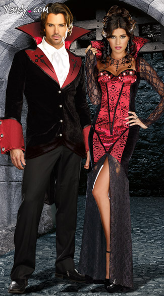 The Blood Sucking Couples Costume, Sexy Vampire Couples Costume Set, Adult Vampire Costume Set