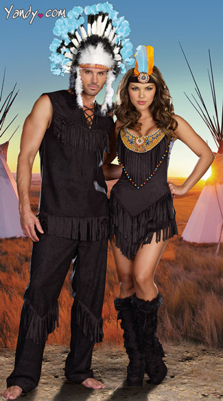 Reservation Royalty Couples Costume, Native American Costumes, Native Indian American Couples Costumes, Indian Couples Costumes