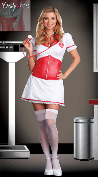 Love Doctor Costume, Red Vinyl Nurse Costume
