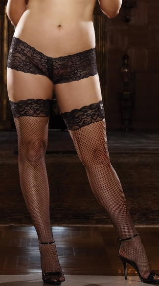 Plus Size Fishnet Thigh High with Lace Silicone Top, Plus Size Thigh High Stockings