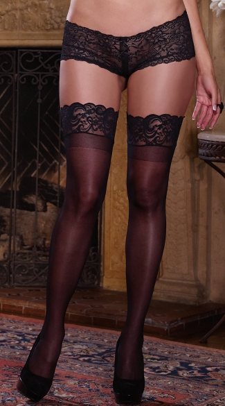 Plus Size Sheer Thigh High with Stay up Silicone Lace Top.