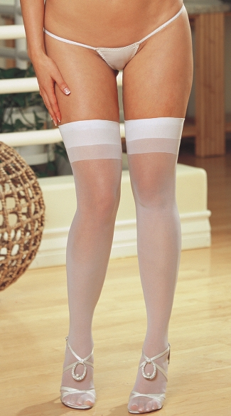 Plus Size Sheer Thigh High with Back Seam