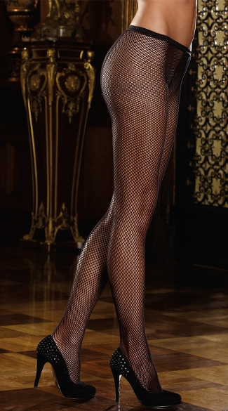 Fishnet Pantyhose with Back Seam, Black Fishnet Pantyhose, Sexy Fishnet Panty Hose, Sexy Fishnet Stockings
