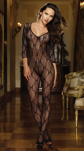 Lace Bodystocking with 3/4 Length Sleeves