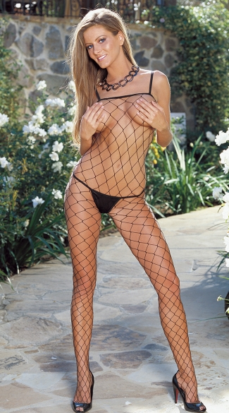 Fence Net Body Stocking, Fence Net Bodystocking, Fishnet Body Stocking, Black Body Stocking, Open Crotch Body Stocking