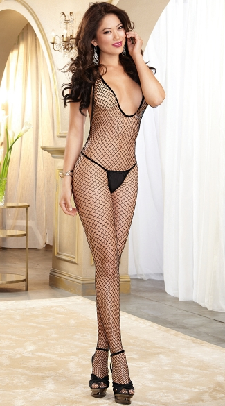 Diamond Net Open Crotch Bodystocking, Fishnet Open Crotch Bodystocking, Open Crotch Body Stocking