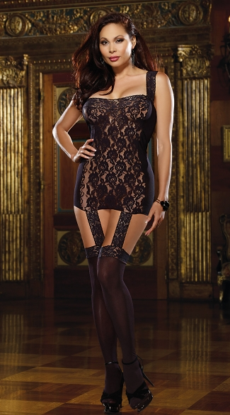 Plus Size Mesh and Lace Gartered Dress with Stockings, Plus Size Lace and Mesh Bodystocking, Plus Size Sheer Chemise with Stockings