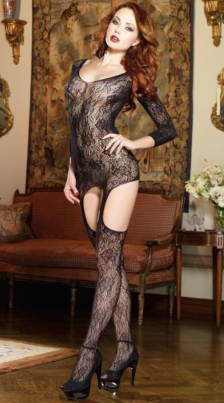 Long Sleeve Lace Garter Chemise