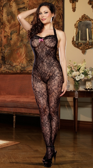 Plus Size Black Floral Lace Halter Bodystocking