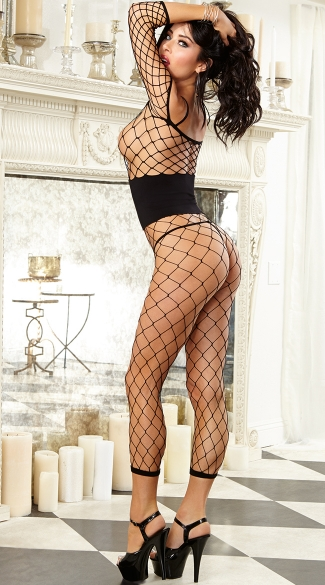 Fishnet Bodystocking Jumpsuit with Waist Cincher