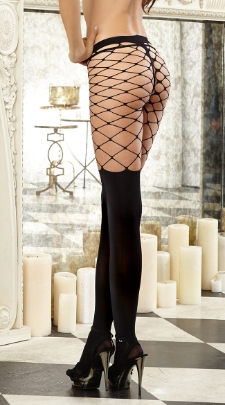 Two Tone Opaque and Fence Net Pantyhose