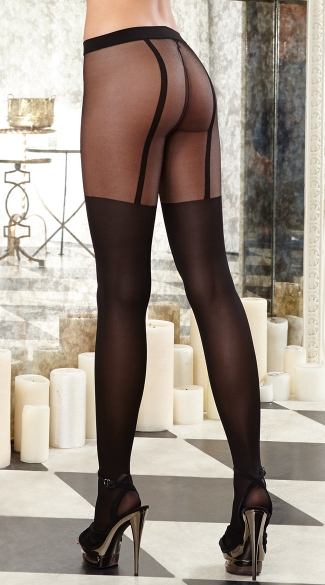 Striped Sheer Pantyhose with Opaque Legs