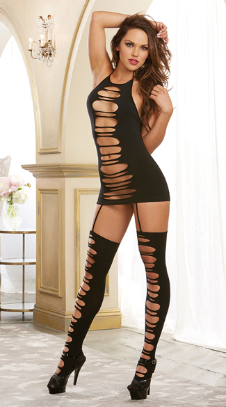 Ripped Garter Dress, Dress with Attached Thigh Highs, Sheer Dress