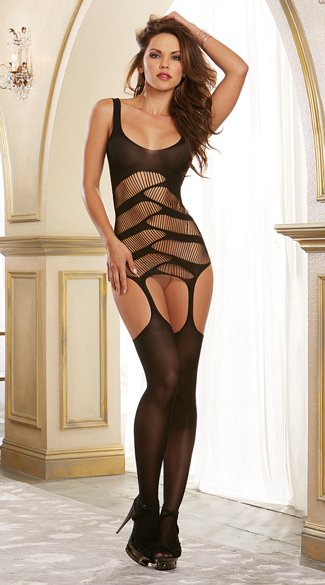 Interlocking Garter Dress, Dress with Attached Thigh Highs, Sexy Sheer Dress