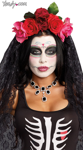 Day Of The Dead Headpiece, Dia De Los Muertos, Mexican Day of The Day Mask