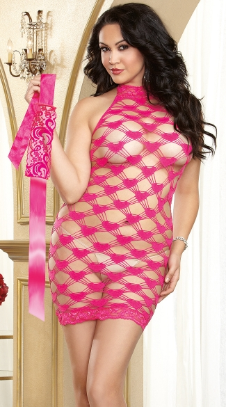 Plus Size Pink Hear Fishnet Chemise and Eye Mask