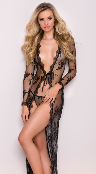 Delicate Lace Gown, Long Lace Robe, Sexy Lace Robe
