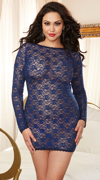 Plus Size Lacy Criss-Cross Tunic, Plus Size Long Sleeve Chemise, Plus Size Lace Mini Dress