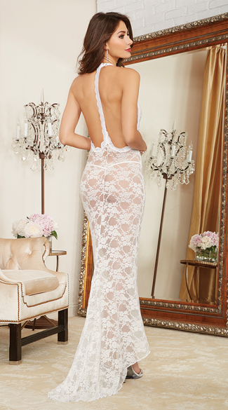 Long Lace Gown and Panty, Long Lace Gown, Lace Gown