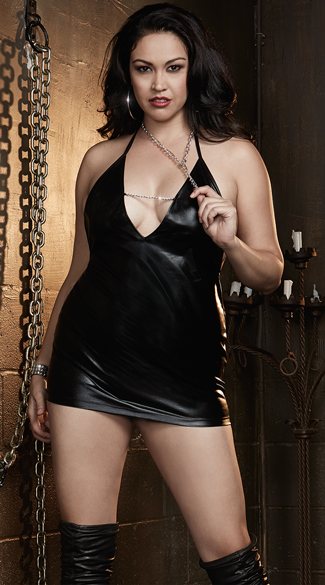 Plus Size Faux Leather Chemise with Silver Chain, Plus Size Leather Chemise with Chain, Plus Size Chemise with Chain
