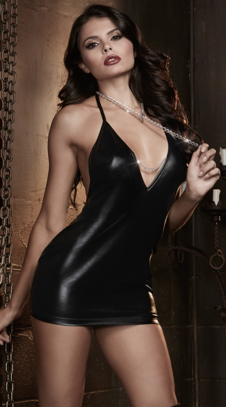 Faux Leather Chemise with Silver Chain, Leather Chemise with Chain, Chemise with Chain