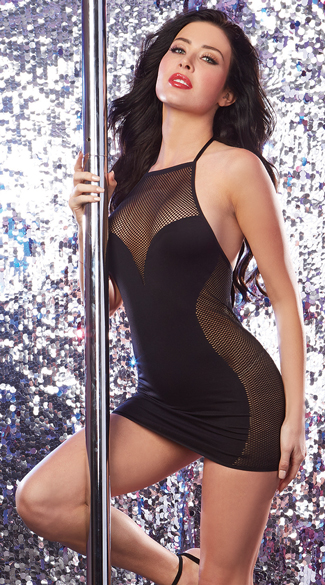 High Neck Fishnet Club Dress, Fishnet Club Dress, Black Fishnet Dress