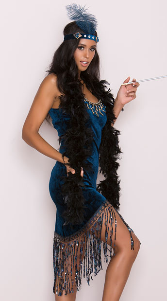 Downtown Doll Costume, Blue Flapper Costume, Sexy Flapper Costume