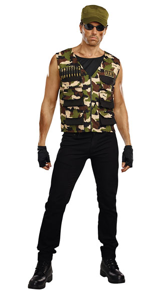 Plus Size Men\'s Friendly Fire Army Costume, plus size men\'s army costume, plus size sexy men\'s army costume, plus size men\'s military costume, plus size sexy men\'s military costume