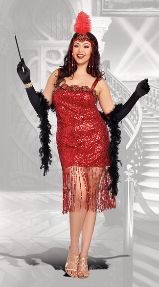 Plus Size Ain\'t She Sweet Flapper Costume, plus size flapper costume, plus size sexy flapper costume