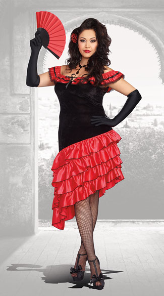 Plus Size Seductive Spanish Dancer Costume, Plus Size Sexy Spanish Dancer Costume, Plus Size Sexy Flamenco Dancer Costume