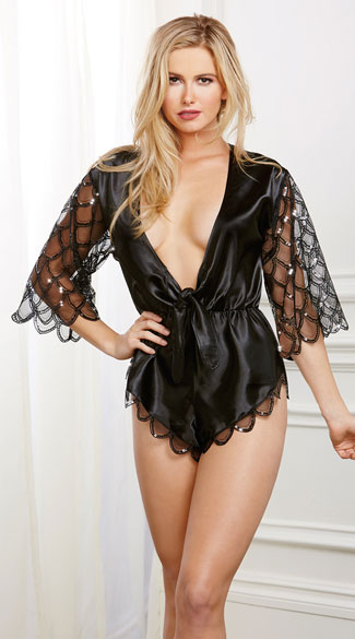 Satin And Sequin Romper Black Satin Romper Black Sequin