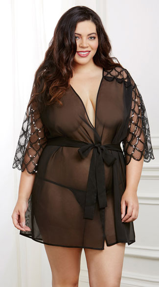 Plus Size Sheer Sequined Robe Set, Plus Size Black Robe and Panty Set, Plus Size Sheer Black Robe Set