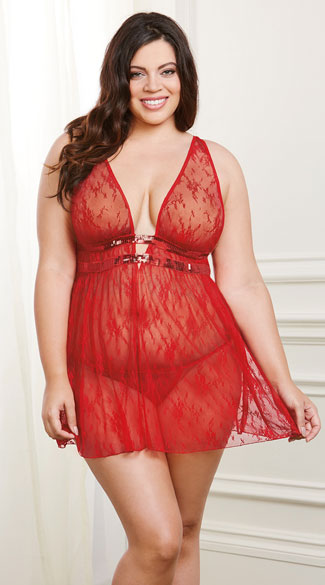 Plus Size Romantic Red Lace and Sequin Babydoll Set, Plus Size Red Lace Babydoll Set, Plus Size Sheer Red Babydoll Set