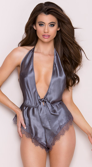Satin Slate Romper Low Cut Satin Romper Grey Satin Romper
