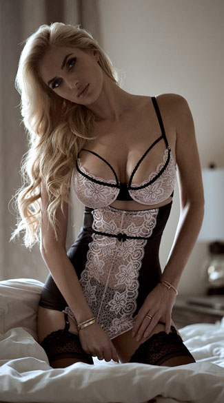 Dainty Pink and Black Garter Chemise, Pink and Black Lace Chemise, Pink Lace Chemise