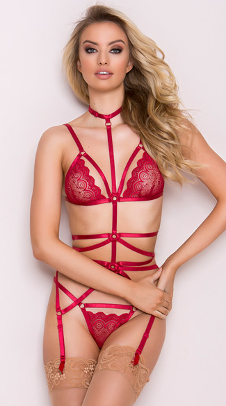 Tempting Garnet Cage Bra Set, Red Cage Bra Set, Strappy Bra Set