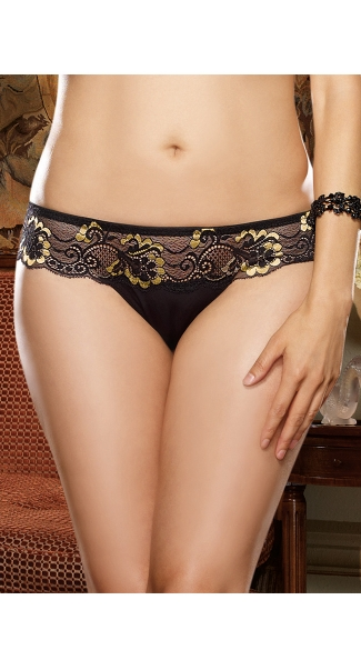 Plus Size Glamour Goddess Black and Gold Lace Thong