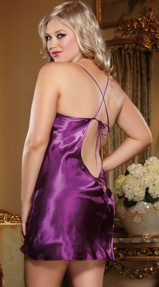 Plus Size Charmeuse Low Back Sleepwear Babydoll And Matching Robe