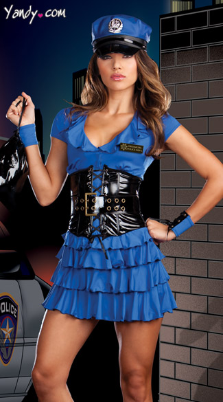 Late Night Patrol Costume, Blue Cop Costume, Lady Cop Costume